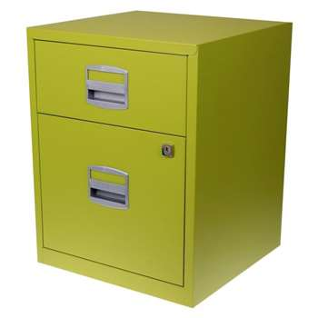 Bisley A4 2 Drawer Filing Cabinet on Wheels, Green (H52.9 x W41.3 x D40cm)