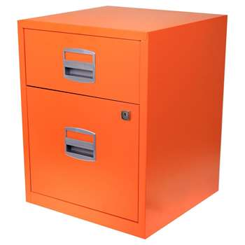 Bisley A4 2 Drawer Filing Cabinet on Wheels, Orange (H52.9 x W41.3 x D40cm)
