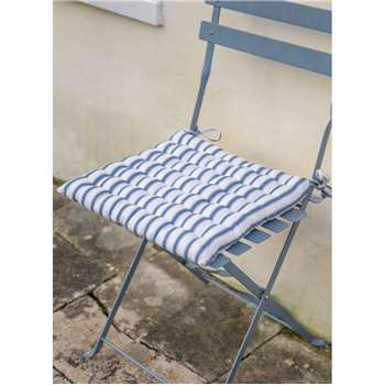 Bistro Seat Pad in Blue Stripe - Cotton (40 x 40cm)