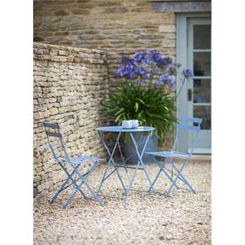 Bistro Set Table & 2 Chairs in Dorset Blue (71 x 50cm)