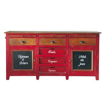 BISTROT Mango Wood Sideboard in Red (H87 x W175 x D40cm)