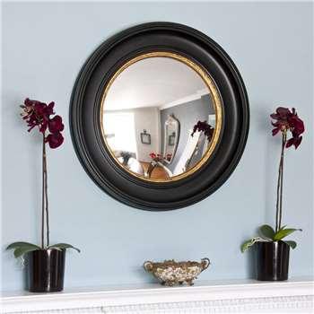 Black And Gold Round Fisheye Mirror (H74 x W74cm)