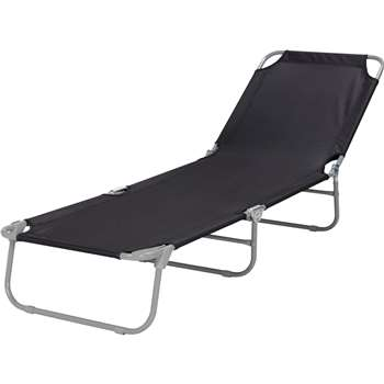 Black Foldable Multi-position Sun Lounger (24 x 53cm)