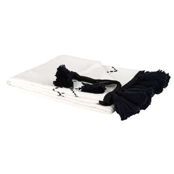 Black Fringed White Cotton Blanket with Print (H130 x W170cm)