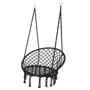 Black Macrame Hanging Chair (H118 x W80 x D80cm)