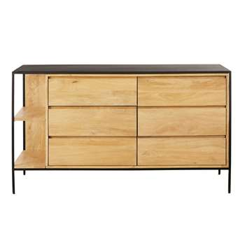Black Metal and Mango Wood 6-Drawer Chest of Drawers Wayampi (H80 x W140 x D45cm)
