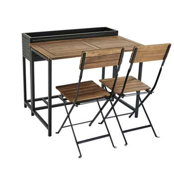 Black Metal and Solid Acacia Garden Table and 2 Chairs Calathea (H80 x W100 x D80cm)