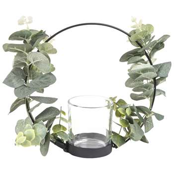FIORA Black Metal Candle Holder with Leaf Garland (Height 20cm)