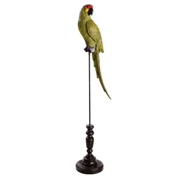 JACO Black Metal Green Parrot on Stand (115 x 28cm)