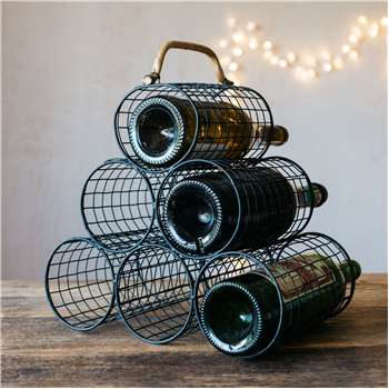 Black Metal Wine Rack (H34 x W32 x D18cm)