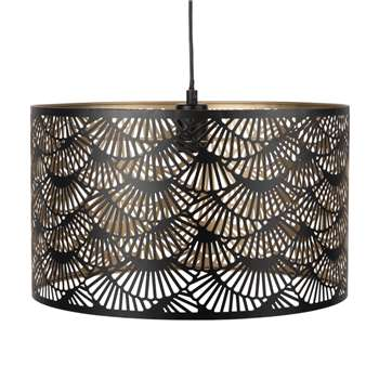 Black Perforated Metal Drum Pendant (H25 x W42 x D42cm)