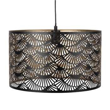 Black Perforated Metal Drum Pendant (H25 x W42 x D42cm)
