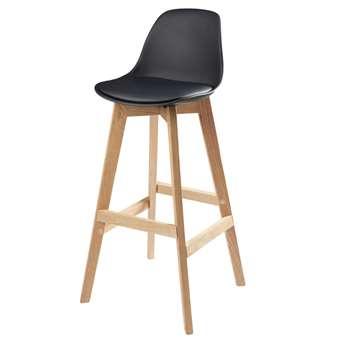 Black Scandinavian Bar Chair with Solid Oak Ice (H99 x W46 x D46cm)