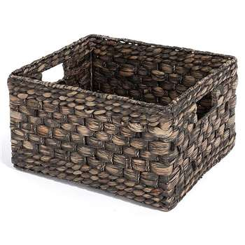 Black Water Hyacinth Shelf Basket (H21 x W39 x D30cm)