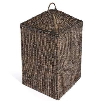 Black Water Hyacinth Square Laundry Basket (H60 x W40 x D40cm)