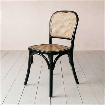 Black Wicker Bistro Chair (H86 x W45 x D42cm)