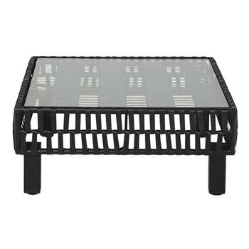 Black Woven Resin and Glass Garden Coffee Table (H36 x W80 x D80cm)