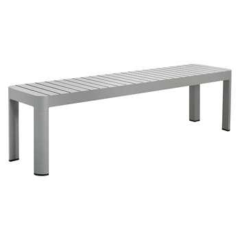 Blake 3 Seater Grey Aluminium Garden Dining Bench (H45 x W160 x D40cm)