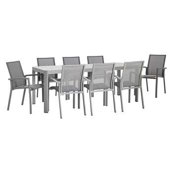 Blake 8 Seater Grey Aluminium Garden Dining Table And Six Chairs (H74 x W200 x D100cm)