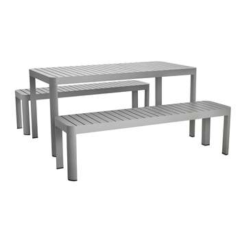 Blake 8 Seater Grey Aluminium Garden Dining Table And Two Benches (H74 x W200 x D100cm)