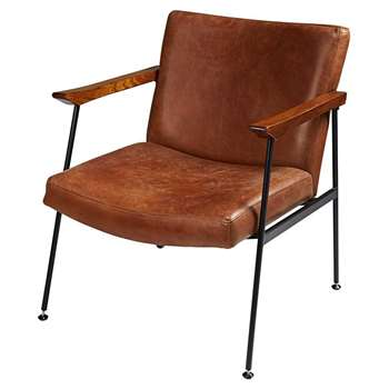 BLAKE Antique brown calfskin armchair (82 x 70cm)