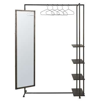 BLAKE - Metal Hanging Rack with Mirror and Shelves (H170 x W132 x D50cm)