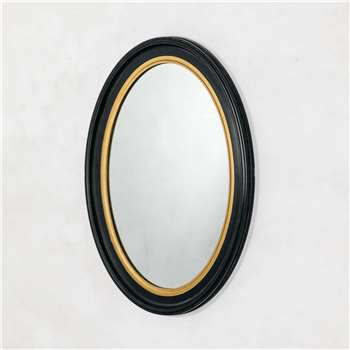 Blake Oval Black and Gold Mirror (H70 x W50cm)