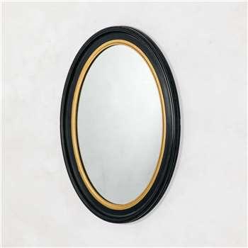 Blake Oval Black and Gold Mirror (H70 x W50cm)