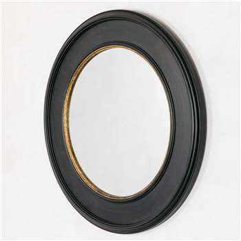Blake Round Antiqued Black and Gold Mirror (Diameter 103cm)