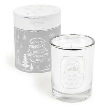 BLANC - Scented Christmas Candle Box in Mirror-Effect Glass Holder (H12 x W10 x D10cm)