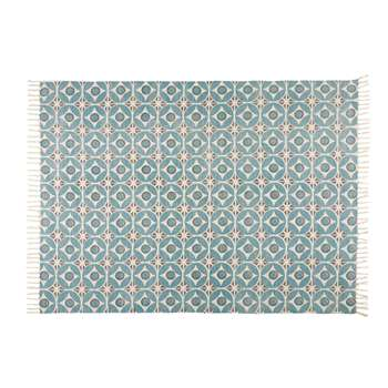 BLOCALIA blue patterned cotton rug (140 x 200cm)