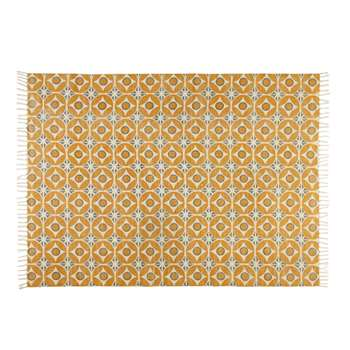 BLOCALIA cotton rug with mustard yellow cement tile motifs (160 x 230cm)