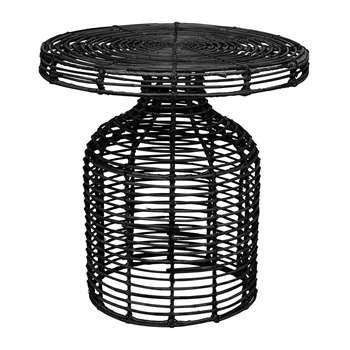 Bloomingville - Cuba Rattan Side Table - Black (H46 x W46 x D46cm)