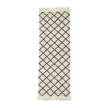 Bloomingville - Diamond Runner Rug - Natural/Grey (H200 x W70cm)