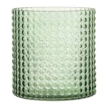 Bloomingville - Dotted Cylindrical Glass Vase - Green (H16.5 x W16 x D16cm)