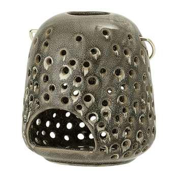 Bloomingville - Green Stoneware Lantern (14 x 12.5cm)