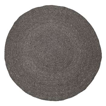 Bloomingville - Grey Round Braided Rug (140 x 140cm)