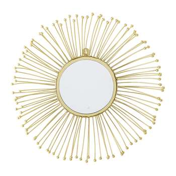 Bloomingville - Line Effect Round Mirror - Gold (Diameter 61cm)