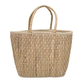 Bloomingville - Lined Seagrass Basket - Natural (H34 x W48 x D30cm)