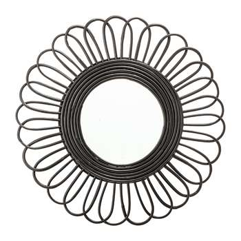 Bloomingville - Round Cane Mirror - Black (Diameter 61cm)