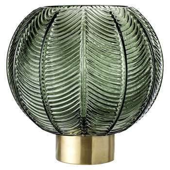 Bloomingville - Spherical Leaf Glass Vase - Green/Brass (H21 x W20 x D20cm)