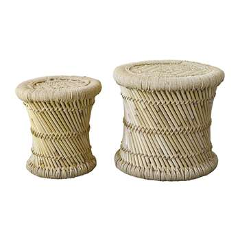 Bloomingville - Terrain Bamboo Stool - Set of 2 - Natural (H40 x W40 x D40cm)