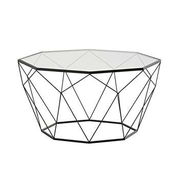 BLOSSOM Black metal and tempered glass coffee table (42 x 80cm)