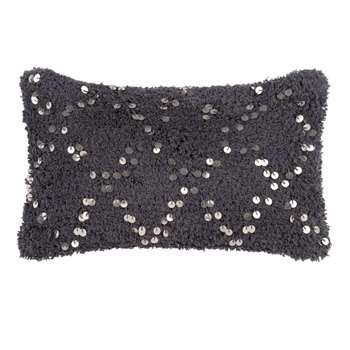 CENTAURE Blue Cotton Cushion Cover with Sequins (H30 x W50cm)