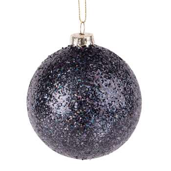 Blue Glass Christmas Bauble with Multicoloured Glitter, Set of 6 (H8 x W8 x D8cm)