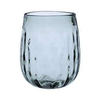 Blue-Grey Tinted Undulating Glass Vase (H17 x W14 x D14cm)