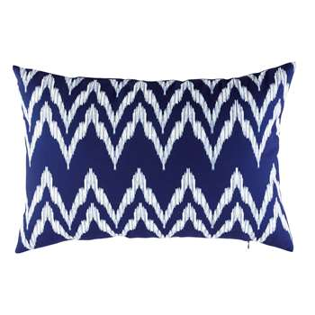 Blue Outdoor Cushion with White Graphic Motifs (40 x 60cm)