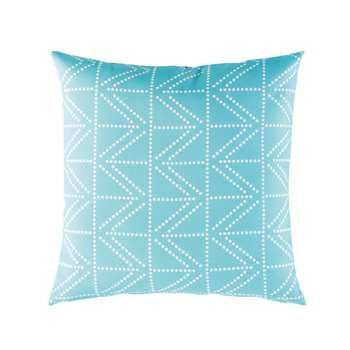 Blue Outdoor Cushion with White Graphic Motifs (45 x 45cm)