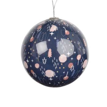 Blue Paper Christmas Bauble with Graphic Print, Set of 6 (H7.5 x W7.5 x D7.5cm)