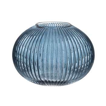 Blue Ribbed Glass Ball Vase (H14 x W17 x D17cm)